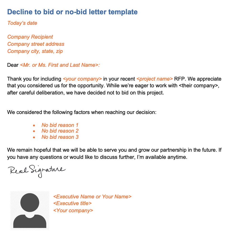 Decline to bid letter template